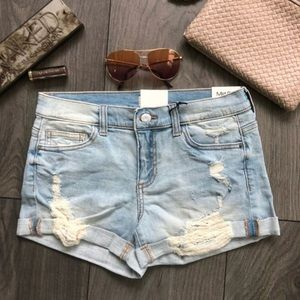 Denim - Cuff Distressed Denim Shorts